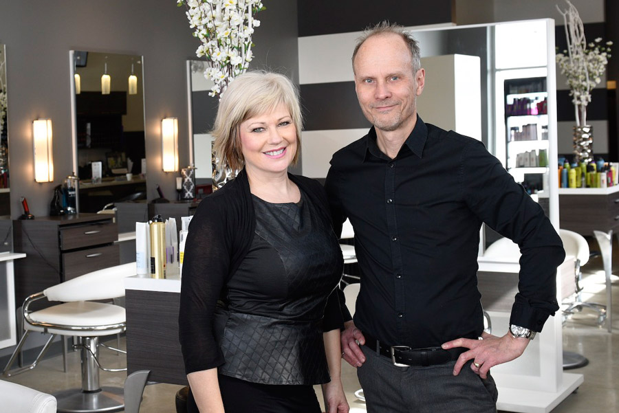 Lance and Kim Nielsen. Element Hair salon in Waterloo