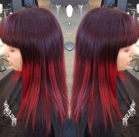 Fiery red Ombre. Deep merlot and true rose red.