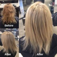 JoHannah's client came in with box colour in her hair that left her hair uneven and brassy. JoHannah went in with foils to lift the colour and create a beautiful multidimensional effect!