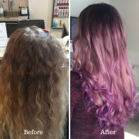 cotton candy pink and luscious lavender balayaged