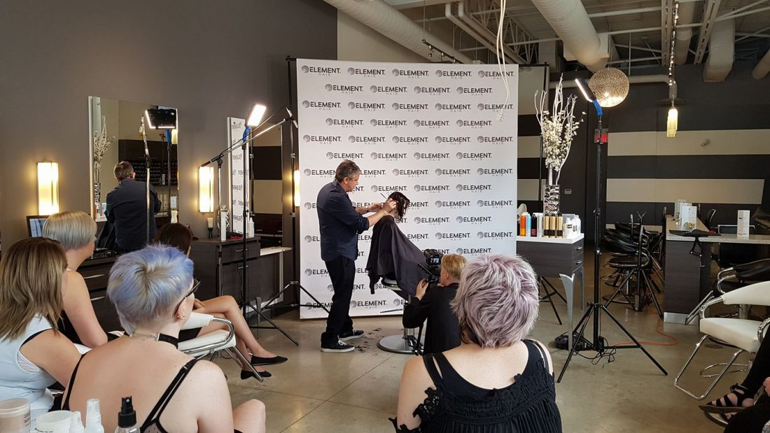 Nick arrojo visits element hair in waterloo element hair for Nick s hair salon