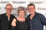 Nick Arrojo (right) with Owners/Directors of Element Hair Waterloo, Lance and Kim Nielsen