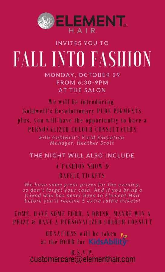 Fall into fashion event at Element hair